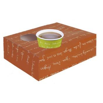 Snackkarton, 1-teilig; 26 x 20 x 8 cm; mmmhh; weiß auf orange; Vollpappe, 250g/qm; für Snacks + mit 2 Becherstanzung