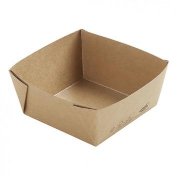 Snackbox, Viking ecoecho; oben: 113 x 113 x 50 mm / 510 ml; uni; braun; Karton, FSC-zertifizert + PLA; verstärkte Ecken; lebensmittelecht