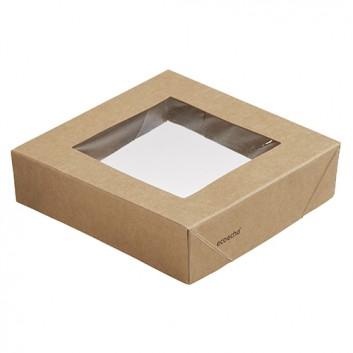 Snackbox-Deckel, Viking ecoecho; oben: 113 x 113 x 29 mm; uni; braun mit kristallklarem Sichtfenster; PLA (Polymilchsäure) 100% erneuerbar