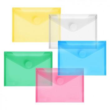 FolderSys Sichtmappe mit Klettverschluß; für DIN A6 quer; verschiedene Farben; milchig; an der langen Seite; mit Klettverschluß; Polypropylen