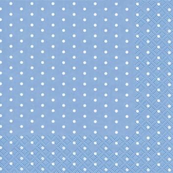 HomeFashion Cocktail-Servietten; 25 x 25 cm; Mini Dots; Punkte; weiß auf hellblau; 111359; 3-lagig; 1/4 Falz (quadratisch); Zelltuch