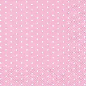 HomeFashion Cocktail-Servietten; 25 x 25 cm; Mini Dots; Punkte; weiß auf rosa; 111361; 3-lagig; 1/4 Falz (quadratisch); Zelltuch