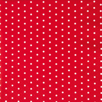 HomeFashion Cocktail-Servietten; 25 x 25 cm; Mini Dots; Punkte; weiß auf rot; 111452; 3-lagig; 1/4 Falz (quadratisch); Zelltuch