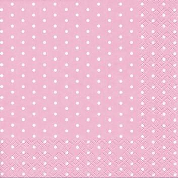 HomeFashion Servietten; 33 x 33 cm; Mini Dots; Punkte; weiß auf rosa; 211361; 3-lagig; 1/4 Falz (quadratisch); Zelltuch
