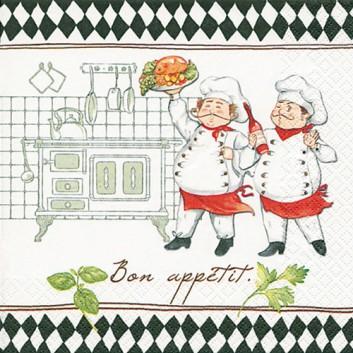 HomeFashion Servietten; 33 x 33 cm; Jacques and Luigi; bunt; 211373; 3-lagig; 1/4 Falz (quadratisch); Zelltuch