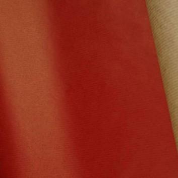 Geschenkpapier; 70 cm Breite: Rollengewicht ca. 12 Kilo; uni, einseitig farbig; rot, Rückseite: naturbraun; 7002; Kraftpapier braun, enggerippt