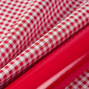 Binhold Geschenkpapier; 70 cm x 100 m; Vichy-Karo; bicolor: rot-weiß auf rot; 116165; Offset weiß, glatt; 100m-Maxirolle