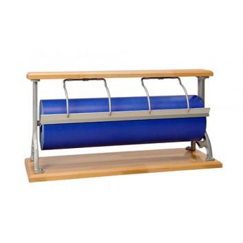 Abroller Holz; 50 cm; Tisch, waagrecht; glattes Messer; für Papier; Holz, Typ B: alufarben, Bügel vernickelt