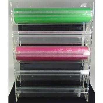 Abroller Acryl; 50 cm Breite, bis zu 5 Rollen -100 lfm; Tisch, waagrecht; glatte Kante; für Papier; Acryl, Transparent