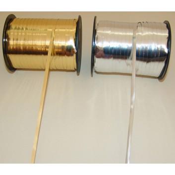 Präsent Ringelband metallic-glänzend; 5 mm x 400; uni-glänzend; gold / silber; Polyband metallisiert