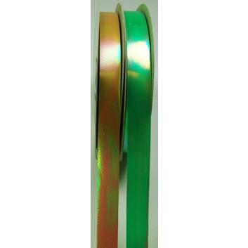 Goertz Ringelband irisierend; 15 mm x 100 yard (ca. 90m); uni: irisierend; gold / grün; Polyband metallisiert; Aktionsangebot solange Vorrat reicht