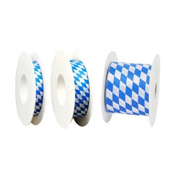 GoldiDecor Geschenkband; 15 mm x 25 m; bayerisch Raute; weiß-blau; Schnittband; Polyester, Schnittband; ohne Draht