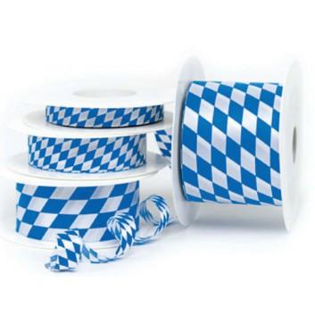 GoldiDecor Geschenkband; 40 mm x 25 m; bayerisch Raute; weiß-blau; Schnittband -; Polyester, Schnittband; ohne Draht
