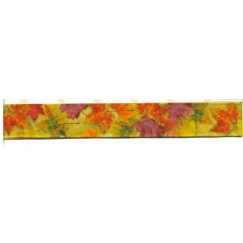 SWS Geschenkband; 16 mm x 25 m; Herbstlaub; 28365; Textilband; ohne Draht; 100% Polyester