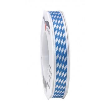 Präsent Geschenkband; 15 mm x 20 m; bayerisch Raute; weiß-blau; Satincharakter+weißer Rand; Satinband mit weißer Kante