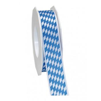 Präsent Geschenkband; 25 mm x 20 m; bayerisch Raute; 602 = weiß-blau; Satincharakter+weißer Rand; Satinband mit weißer Kante