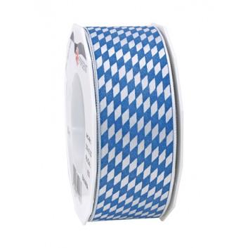 Präsent Geschenkband; 40 mm x 20 m; bayerisch Raute; weiß-blau; Satincharakter+weißer Rand, kleine Raute; Satinband mit weißer Kante
