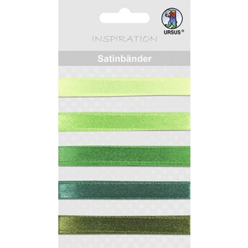 Ursus Geschenkband-Set, Satin; 5 Abschnitte a  10 mm x 90 cm; uni; grün; 7450 00 08; Textilband, Satin; ohne Draht