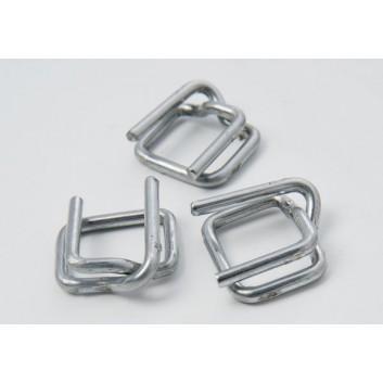 Verschlussklammern für Poyesterband; für 16 mm; verzinkt; Metall; nachspannbar