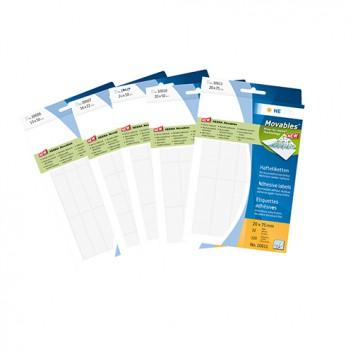 HERMA Vielzweck-Haftetiketten Movables; verschiedene Formate; weiß; Papier, chlorfrei gebleicht; ablösbar, mehrfach wieder haftend