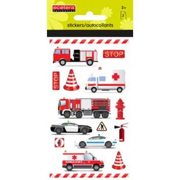 Schmucketiketten; Trägerblatt (B x H): 70 x 120 mm; Einsatzfahrzeuge: Feuerwehr, Polizei etc; Papier; permanent haftend; mit Glitter; 32 Sticker