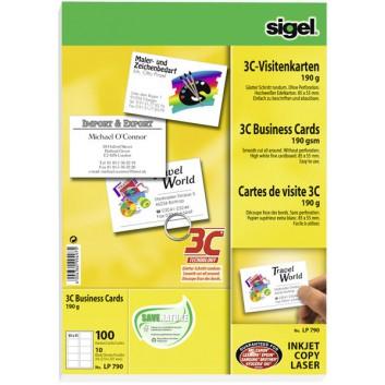 Sigel Visitenkarte 3C unbedruckt; hochweiß; 85 x 55 mm; 190 g/qm; 3C-gestanzt; FSC-zertifiziert