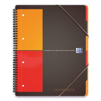 Oxford Spiralblock Organiserbook; DIN A4; kariert; 80g/qm, holzfrei; 80 Blatt; Doppelspirale seitlich; Deckblatt, grau-rot-orange; perforiert