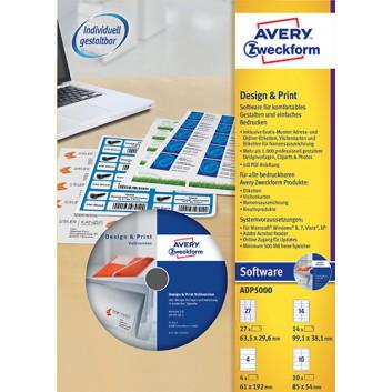 Avery Zweckform Etikettensoftware DesignPro5; CD-ROM, Musterset, Benutzerhandbuch; Windows XP / Vista / 7 / 8; Hersteller-Nr: ADP5000
