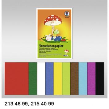 Ursus Tonzeichenpapier-Block; DIN A4; 10 Farben sortiert (je 2 Bogen); 130 g/qm; 2154099
