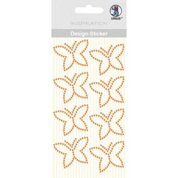 Ursus Kreativ-Accessoires; Design-Sticker Schmetterling; orange; ca. 40 x 30 mm; 7507 00 03; 8 Stück