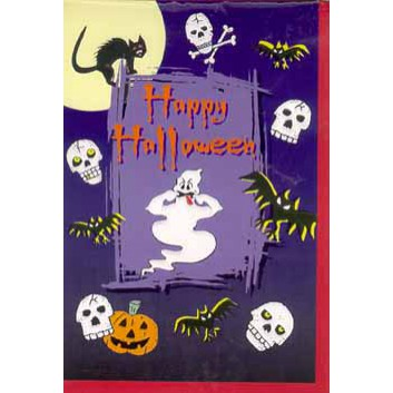 Glückwunschkarte; 115 x 170 mm; Halloween; Gespenst; 27-H1003