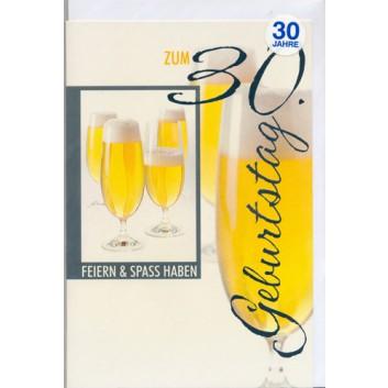 Horn Glückwunschkarte; 115 x 175 mm; Zum 30. Geburtstag; Fotomotiv:  für Genießer - Bier; Ku: weiß, naßklebend, Spitzklappe; Hochformat; 54H7730