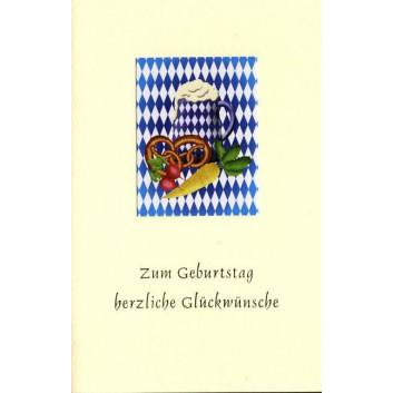Sü Glückwunschkarte; 115 x 170 mm; Zum Geburtstag; Bavarica: ArtLine; Ku: creme; Kuvert creme; 51-b019