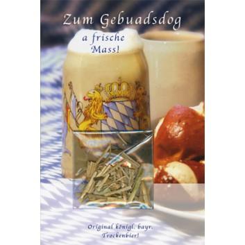Glückwunschkarte; 115 x 170 mm; Zum Geburtstag; Bavarica -Trockenbier-; Ku: weiß; Kuvert weiß; 51-b028