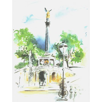 Skorpion Glückwunschkarte, Aquarell-Kunstkarte; 120 x 168 mm; ohne Text; München: Friedensengel; Ku: creme, naßklebend, Spitzklappe; Hochformat