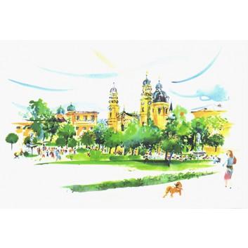 Glückwunschkarte, Aquarell-Kunstkarte; 120 x 168 mm; ohne Text; München: Hofgarten mit Theatinerkirche; Ku: creme, naßklebend, Spitzklappe