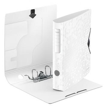 LEITZ Qualitäts-Ordner Active WOW; für DIN A4; weiß (neues geometrisches Design); 60 mm, abgerundet; 2 Ringe