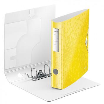 LEITZ Qualitäts-Ordner Active WOW; für DIN A4; gelb, mettalic; 60 mm, abgerundet; 2 Ringe; Hebelmechanik,Blattniederhalter,Gummizug; ca. 350 Blatt