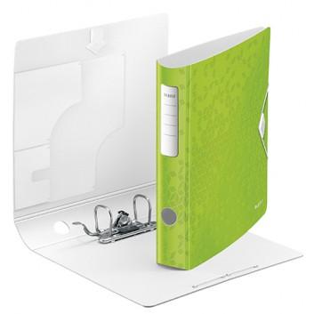 LEITZ Qualitäts-Ordner Active WOW; für DIN A4; grün, mettalic (neues Desigm); 60 mm, abgerundet; 2 Ringe; Hebelmechanik,Blattniederhalter,Gummizug