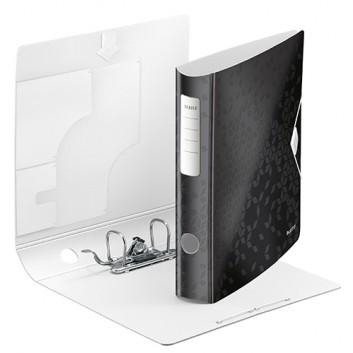 LEITZ Qualitäts-Ordner Active WOW; für DIN A4; schwarz (neues geometrisches Design); 60 mm, abgerundet; 2 Ringe