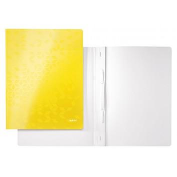 LEITZ Schnellhefter WOW; gelb; für DIN A4; Karton; 300 g/qm, außen mit PP-Folie; für ca. 250 Blatt; Heftmechanik für Standartlochung