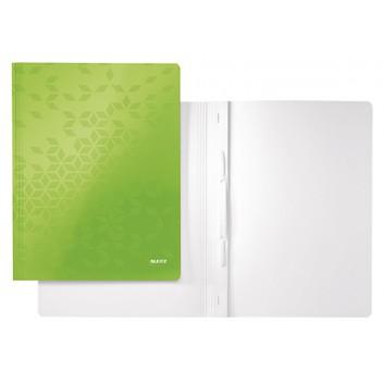 LEITZ Schnellhefter WOW; grün; für DIN A4; Karton; 300 g/qm, außen mit PP-Folie; für ca. 250 Blatt; Heftmechanik für Standartlochung