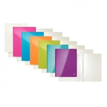 LEITZ Schnellhefter WOW; verschiedene Farben; für DIN A4; Karton; 300 g/qm, außen mit PP-Folie; für ca. 250 Blatt; Heftmechanik für Standartlochung