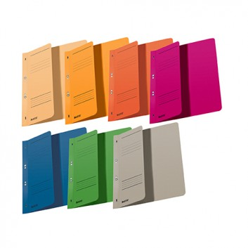 LEITZ Ösenhefter; verschiedene Farben; für DIN A4; Manila-Karton; 250 g/qm; für ca. 170 Blatt; 1/2 Vorderdeckel, mit Organisationsdruck