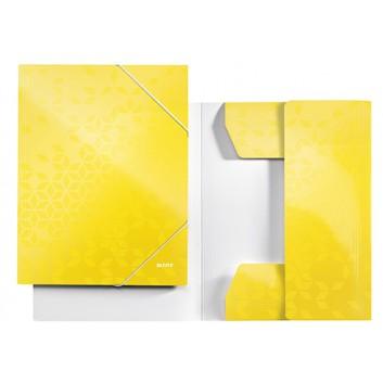 LEITZ Eckspanner-Sammelmappe WOW; gelb; für DIN A4; Karton; 250 g/qm; ca. 250 Blatt; mit Gummizugverschluß über den Ecken