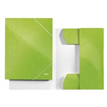 LEITZ Eckspanner-Sammelmappe WOW; grün; für DIN A4; Karton; 250 g/qm; ca. 250 Blatt; mit Gummizugverschluß über den Ecken