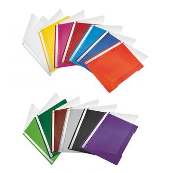LEITZ Schnellhefter Standard; verschiedene Farben; für DIN A4; reissfeste PVC - Folie; ca. 120 Blatt; transparenter Vorderdeckel