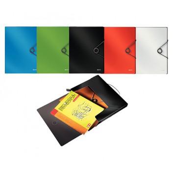 LEITZ Dokumentenmappe Solid; verschiedene Farben; für DIN A4; Polypropylen; ca. 250 Blatt; mit Gummizugverschluß; in Duo Optik
