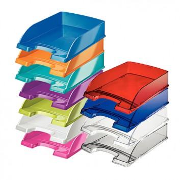 LEITZ Briefkorb Plus; 12 Farben; 255 x 70 x 360 mm (B x H x T); mit Greifausschnitt; mehrfach übereinander stapelbar; Polystyrol (PS); DIN A4/C4