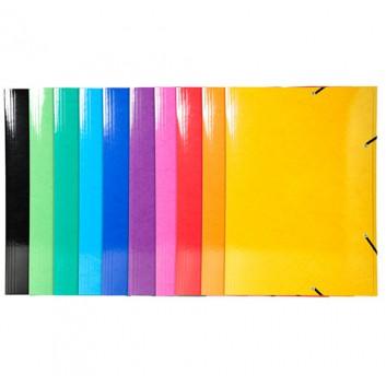 Exacompta Sammelmappe IDERAMA; farbig sortiert; für DIN A3; Manila-Karton; 600 g/qm; ca. 300 Blatt; mit Gummizugverschluß, 3 Klappen